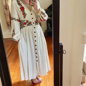 Anthropologie Peasant Dress by Maeve Embroidered
